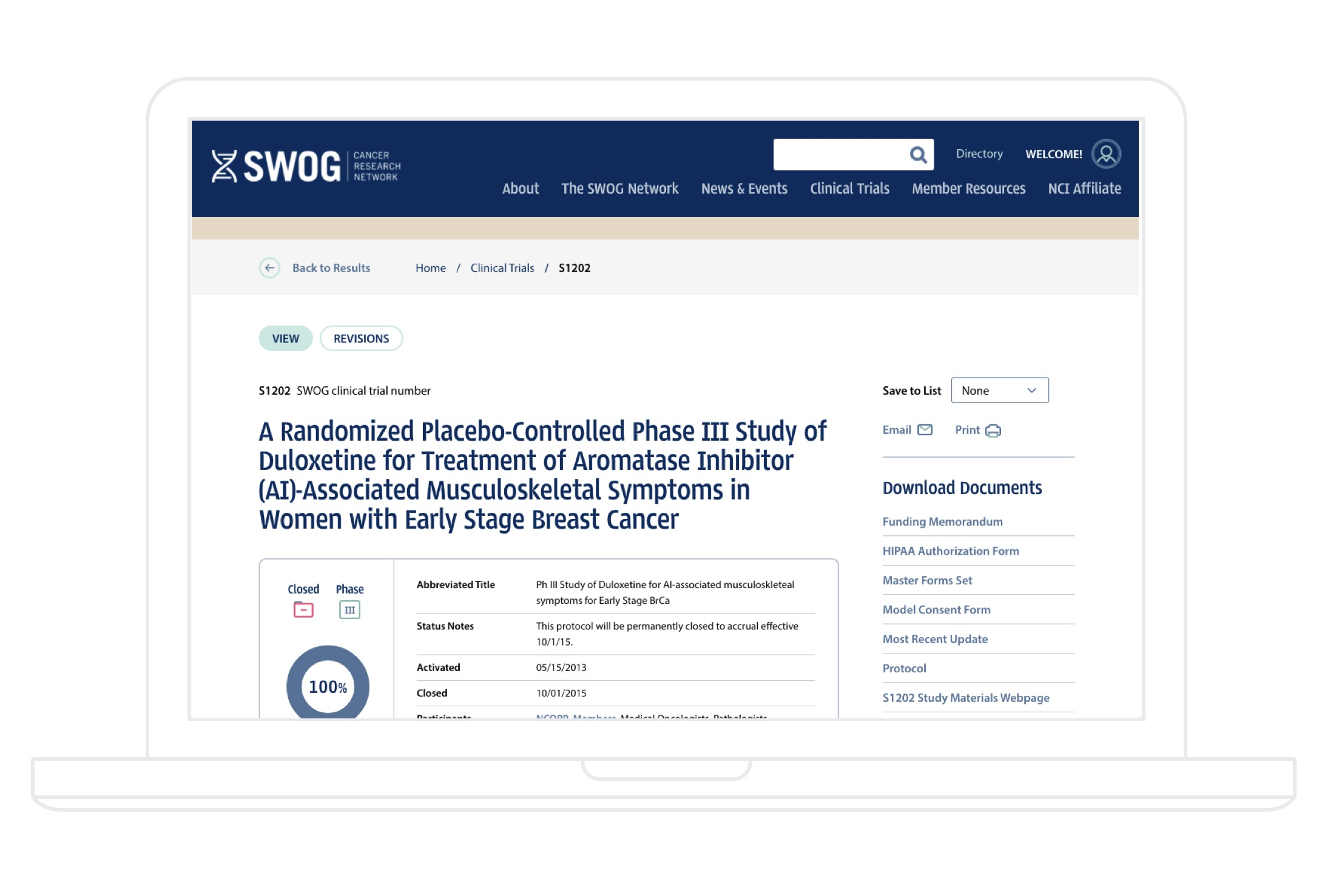 SWOG Clinical Trial on Desktop