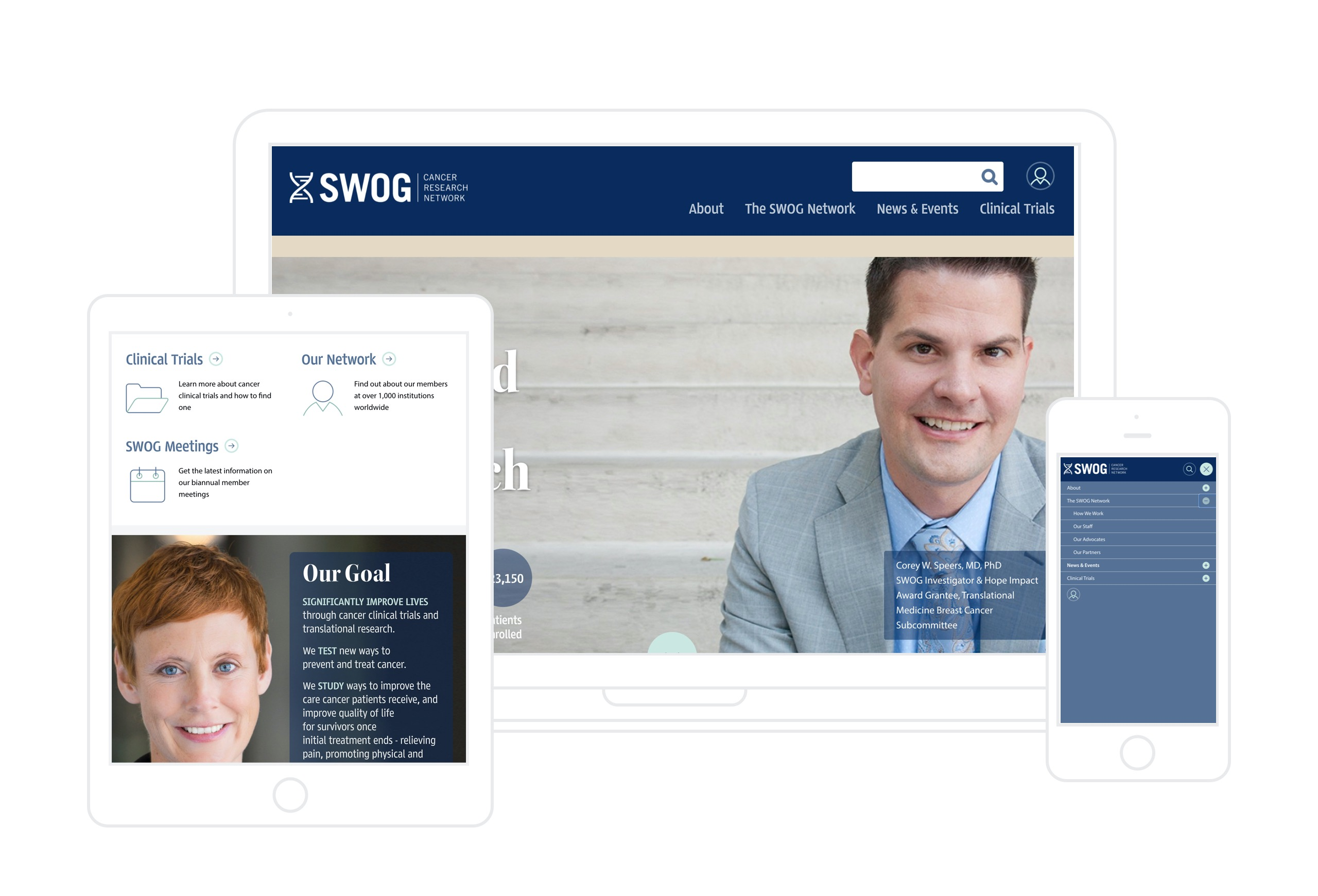 SWOG Website on Table, Desktop and phone